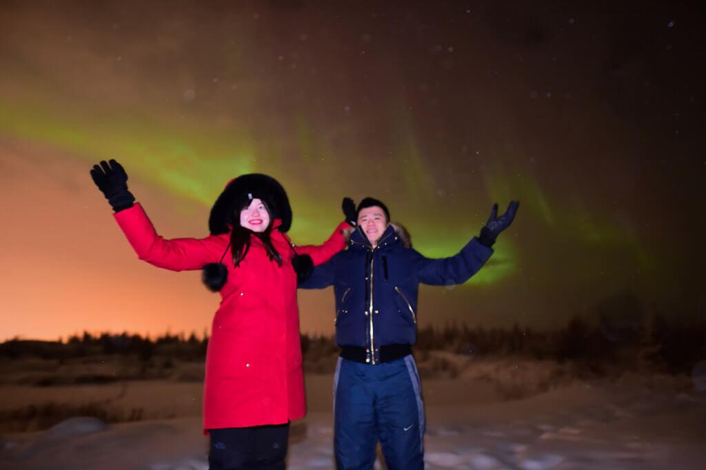 Enjoying the Northern Lights in Yellowknife