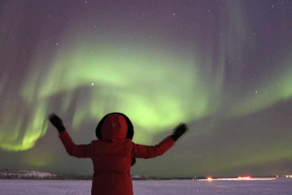 Enjoying the Northern Lights in Yellowknife