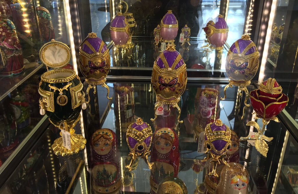 Faberge Eggs in a gift shop in St. Petersburg, Russia