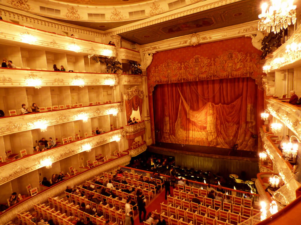 The inside of the Mikhailovsky Theatre in St. Petersburg
