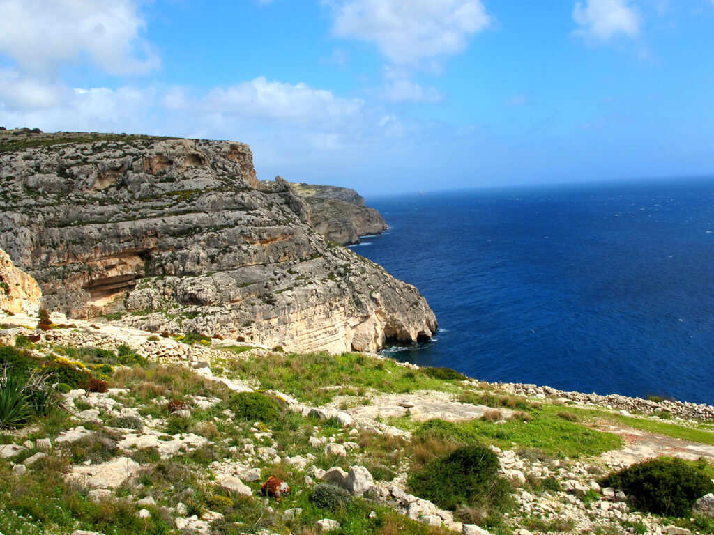Cliffs and sea in Gozo, Malta
