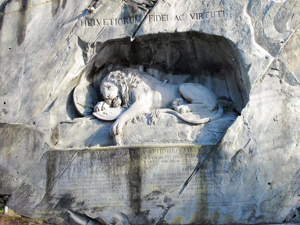 A close up shot of the lion monument