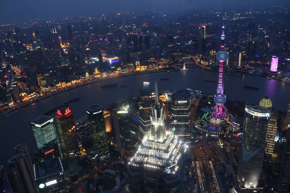 View from the Observation Deck at the Shanghai World Financial Center.