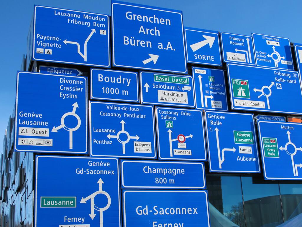 Road signs on display