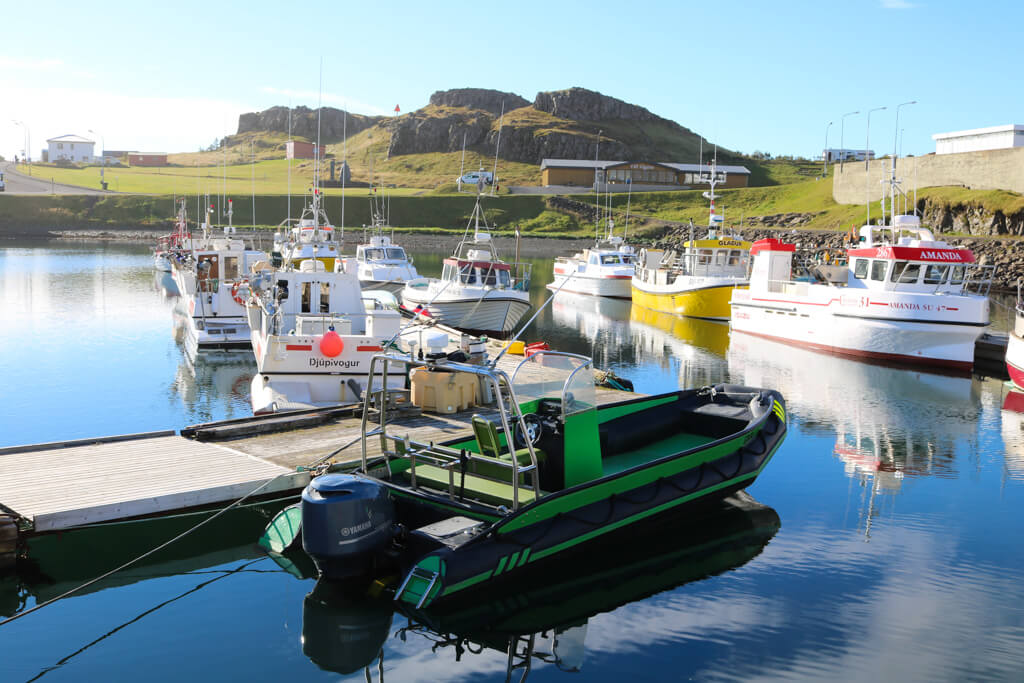 Fishing boats in the town of Djúpivogur