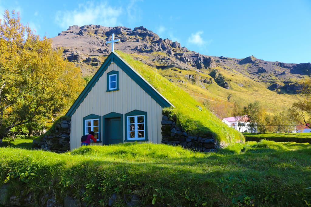 A turf church in the Öræfi region in Southeast Iceland.