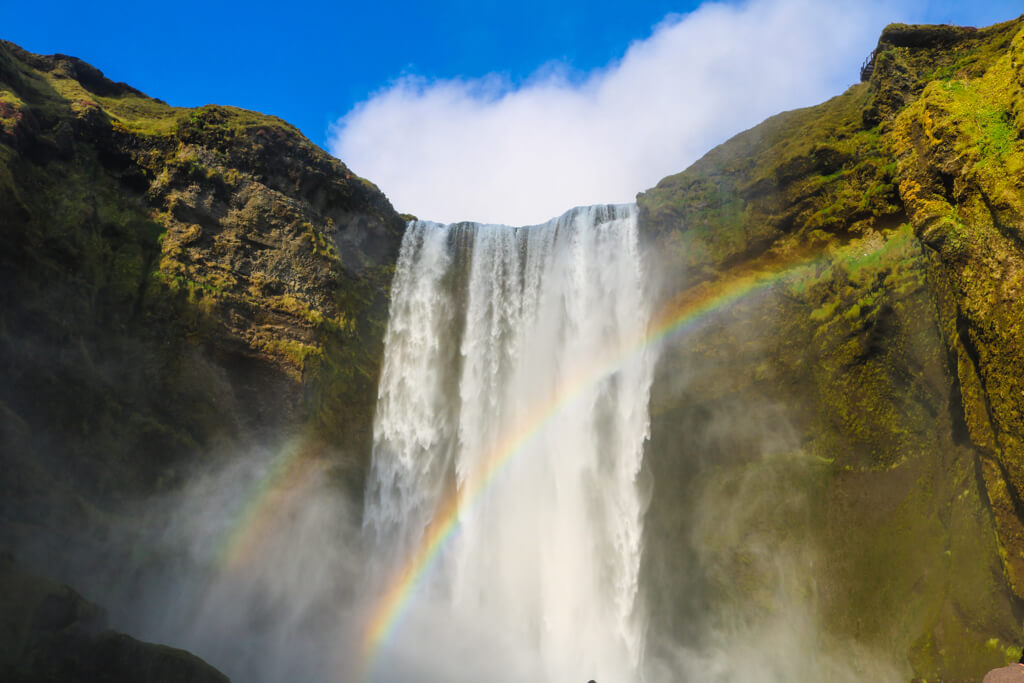 Double rainbows over Skogafoss waterfall in South Iceland