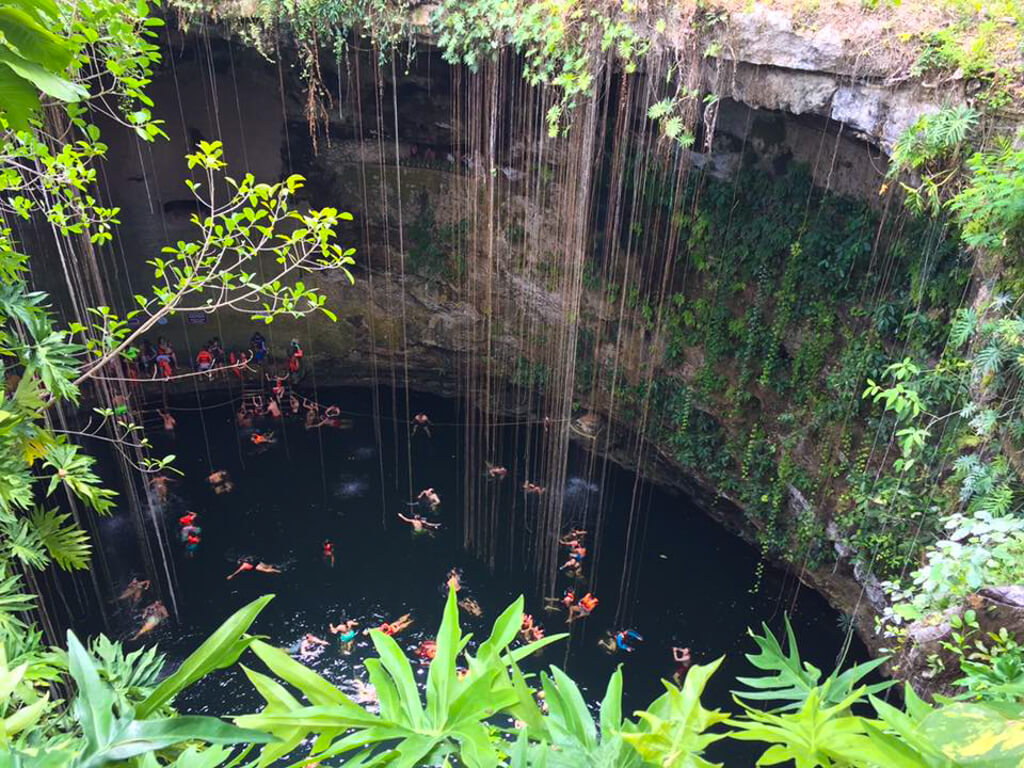 View of Ik Kil Cenote in Mexico from above