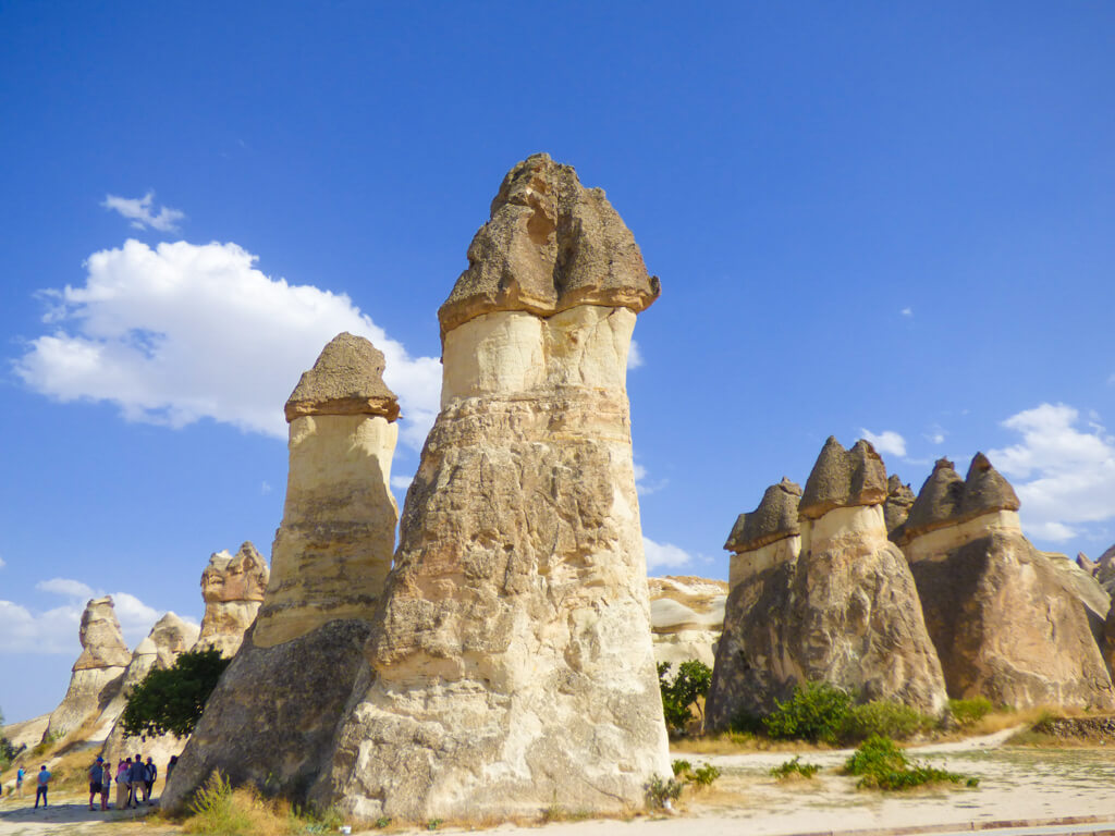 Double capped mushroom chimneys in Pasabag, Cappadocia, Turkey