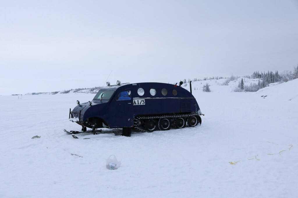 A Bombardier ice fishing vehicle on Great Slave Lake in Yellowknife