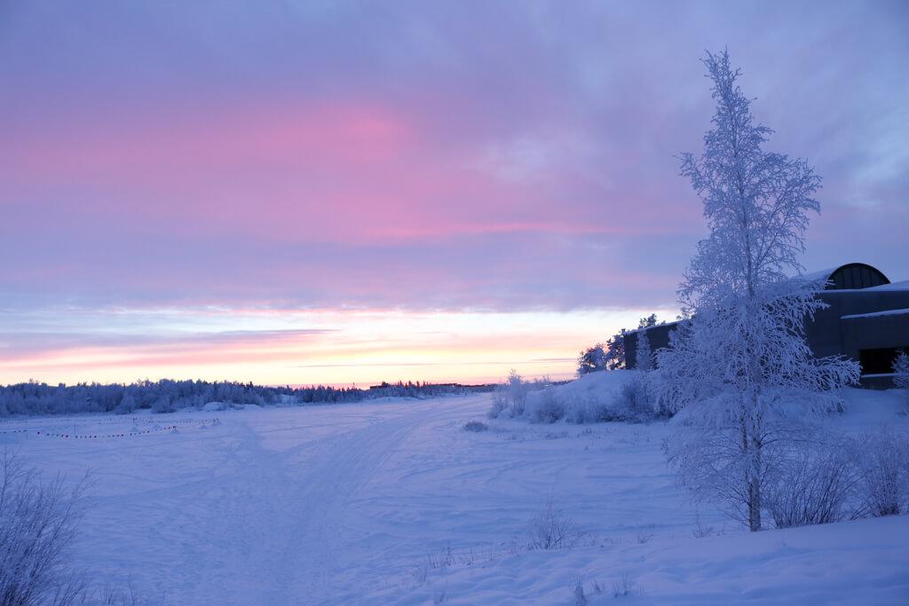 Beautiful pink and purple sunset in Yellowknife