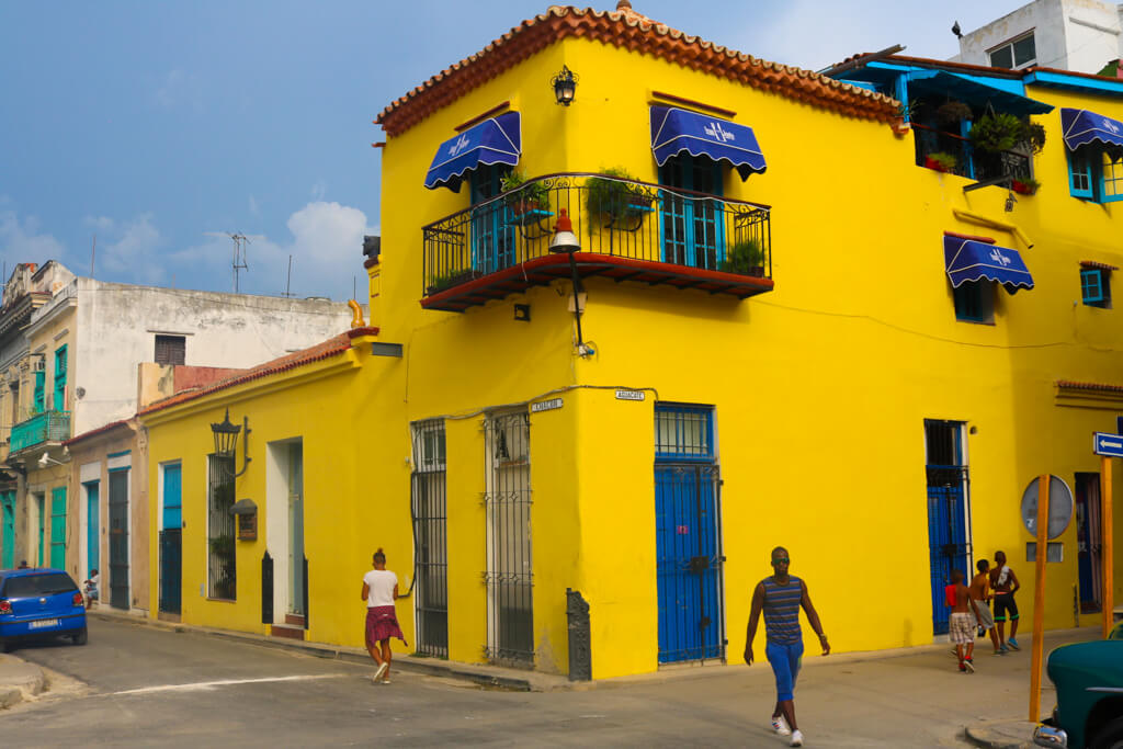 A bright yellow house in Old Havana
