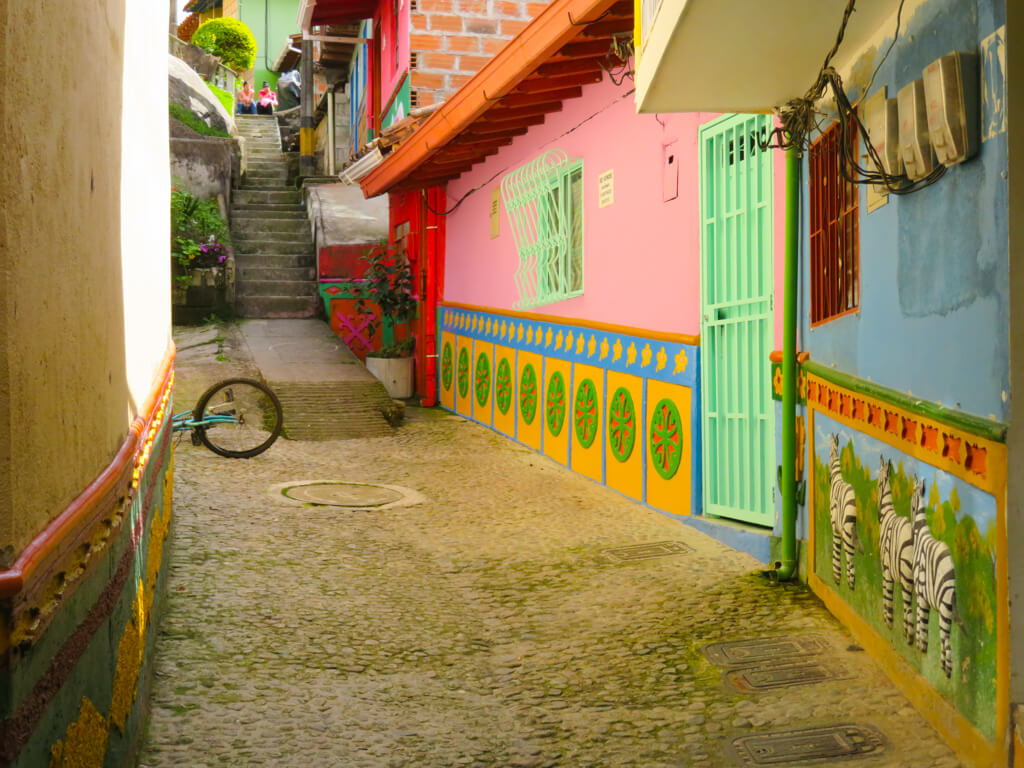 A quiet colourful street in Guatape, Colombia