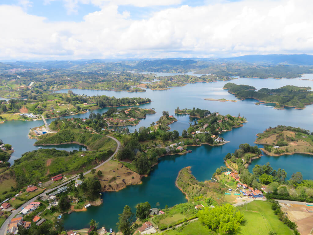 The amazing view of lakes and islands from the top of El Penon de Guatape