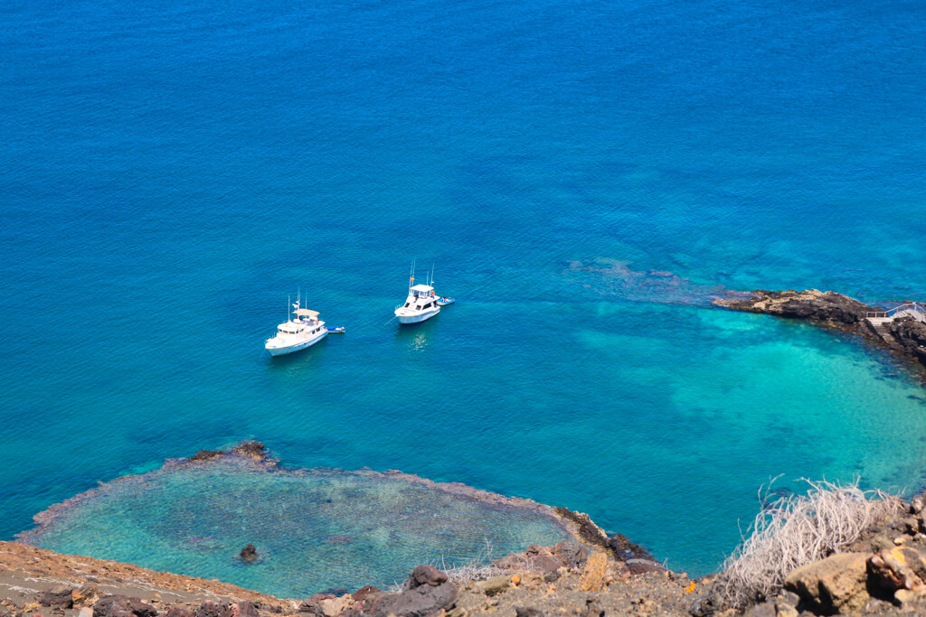Crystal clear blue water at Bartolome Island, a popular day trip from Puerto Ayora in the Galapagos