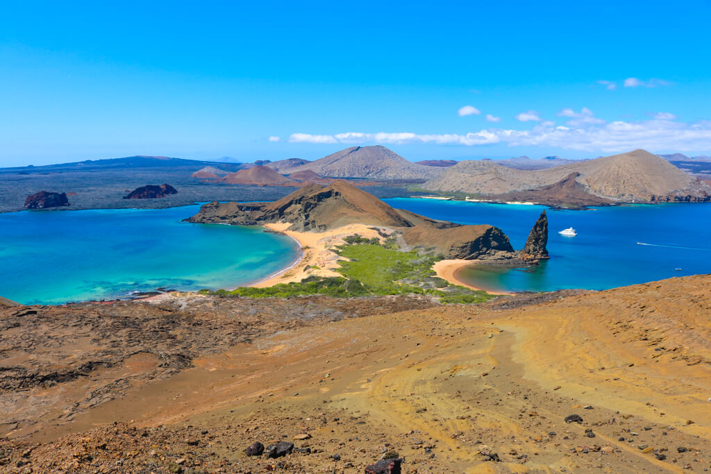 View from the top of 370 stairs at Bartolome Island in the Galapagos.