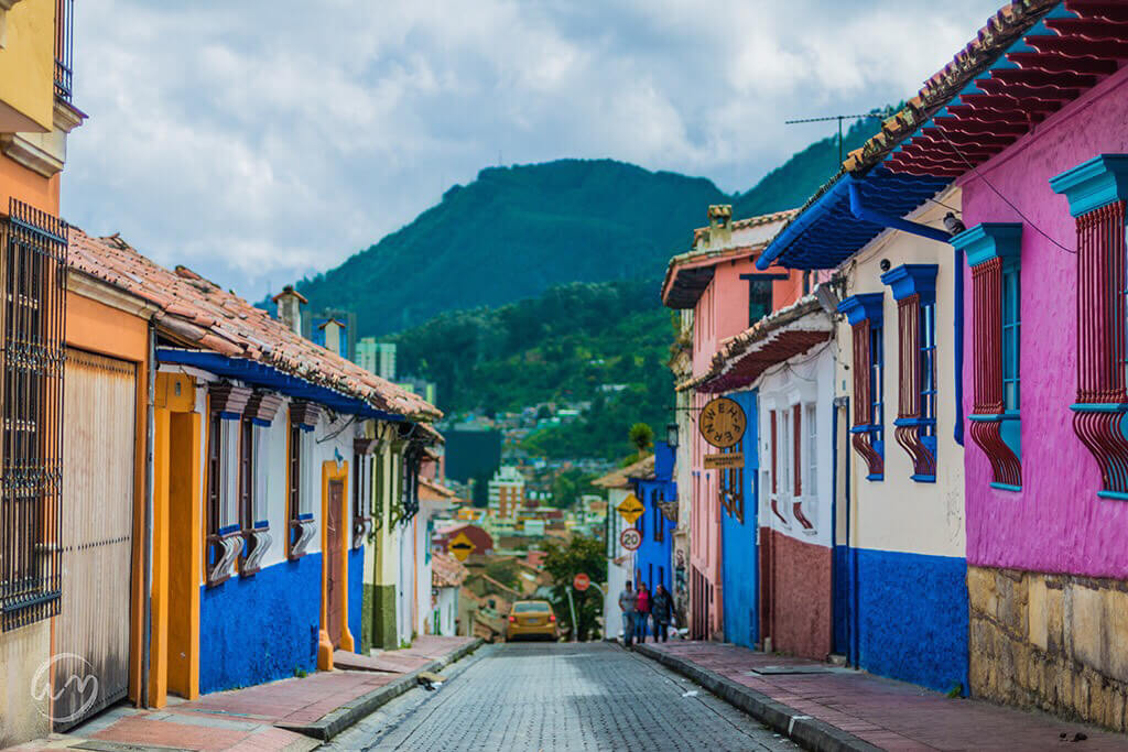 A colourful street in Bogota, the capital of Colombia