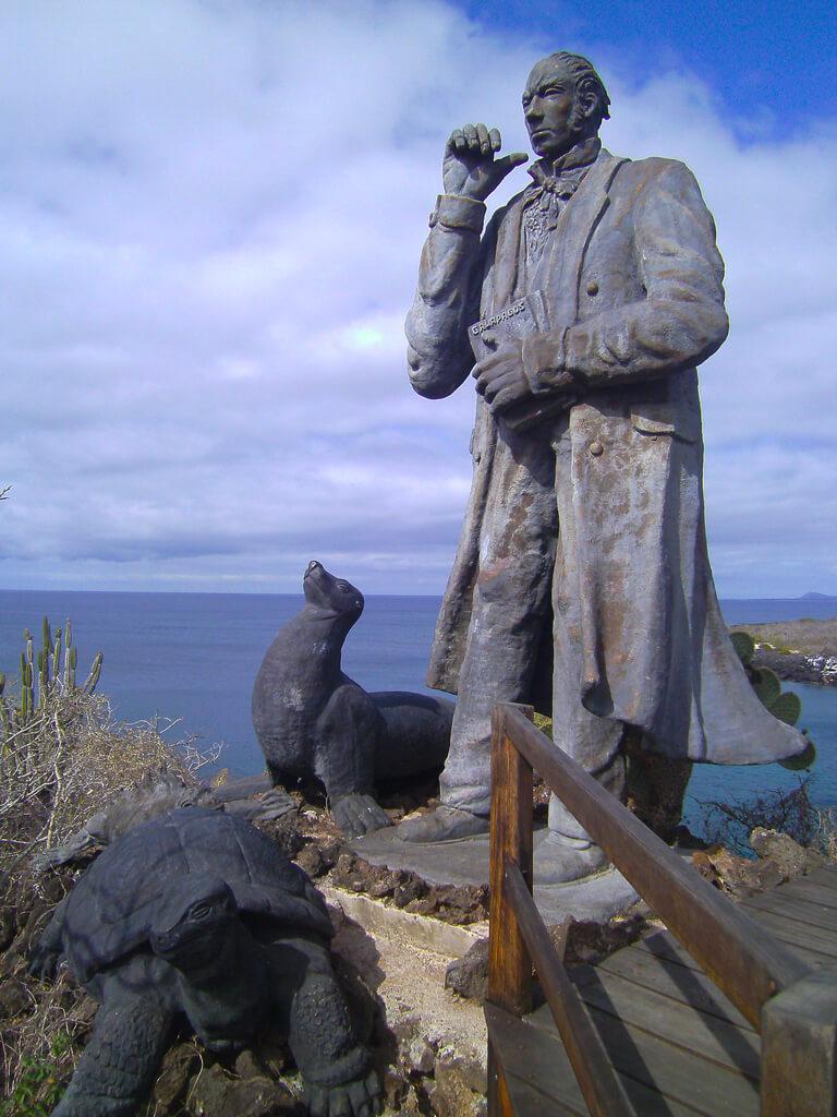 Charles Darwin Statue at Cerro Tijeretas in San Cristobal, Galapagos