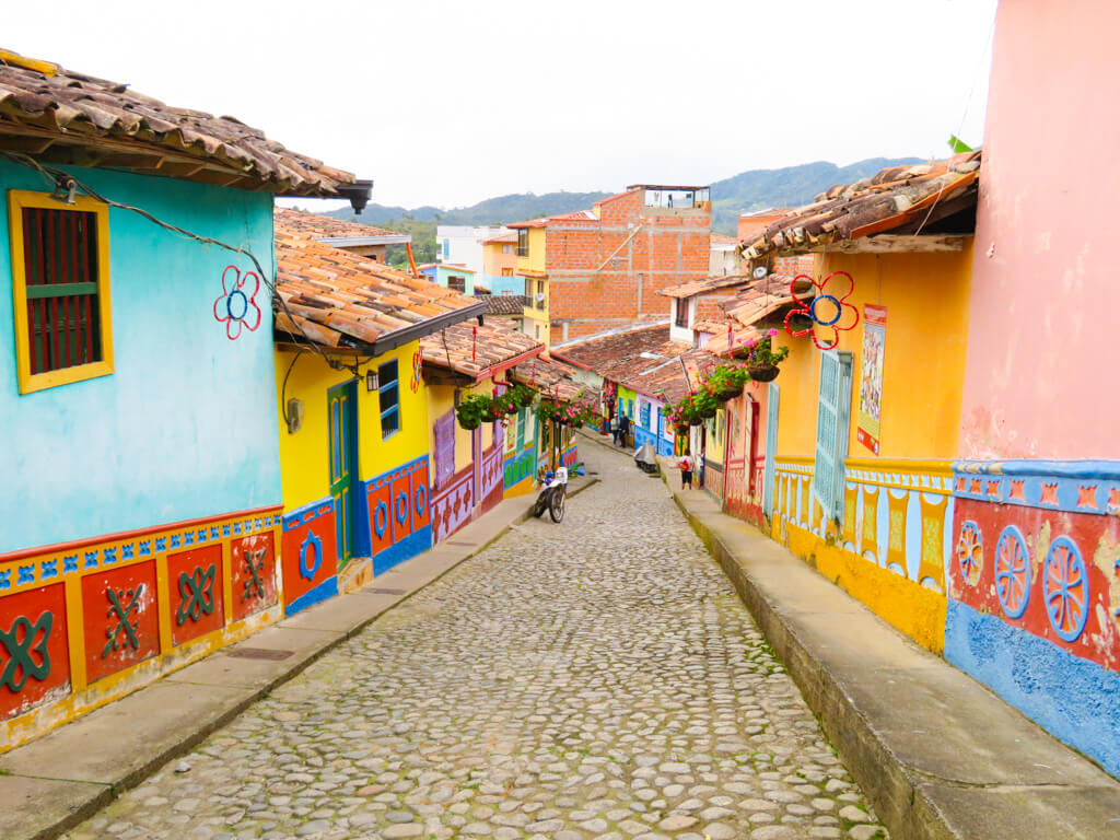 A colourful street in the town of Guatape, Colombia