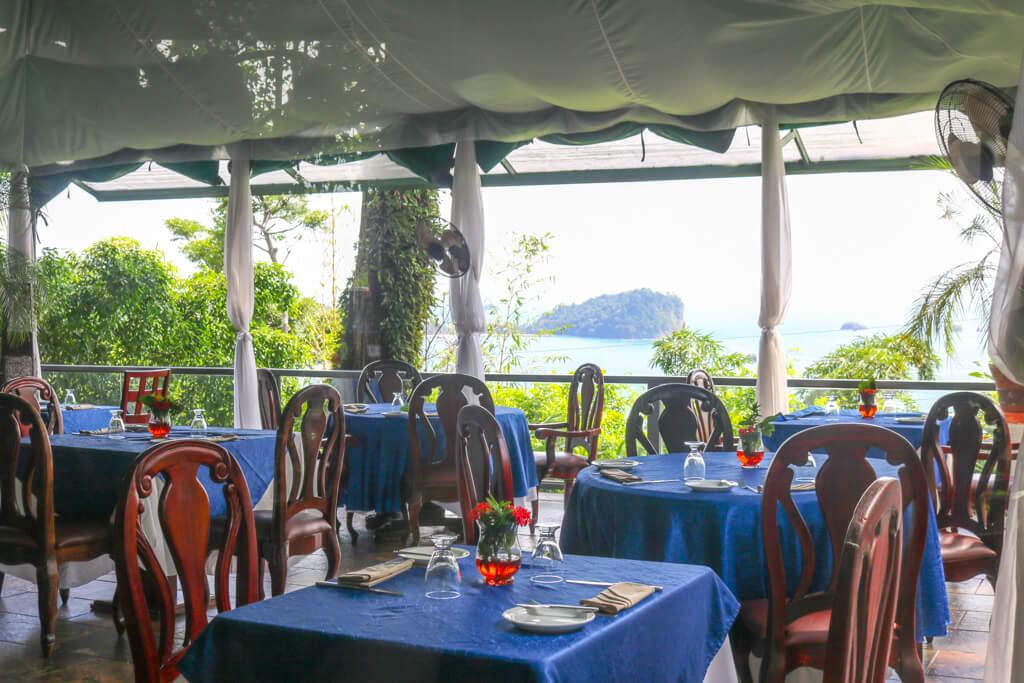 The restaurant at La Mansion Inn, Quepos, Costa Rica.