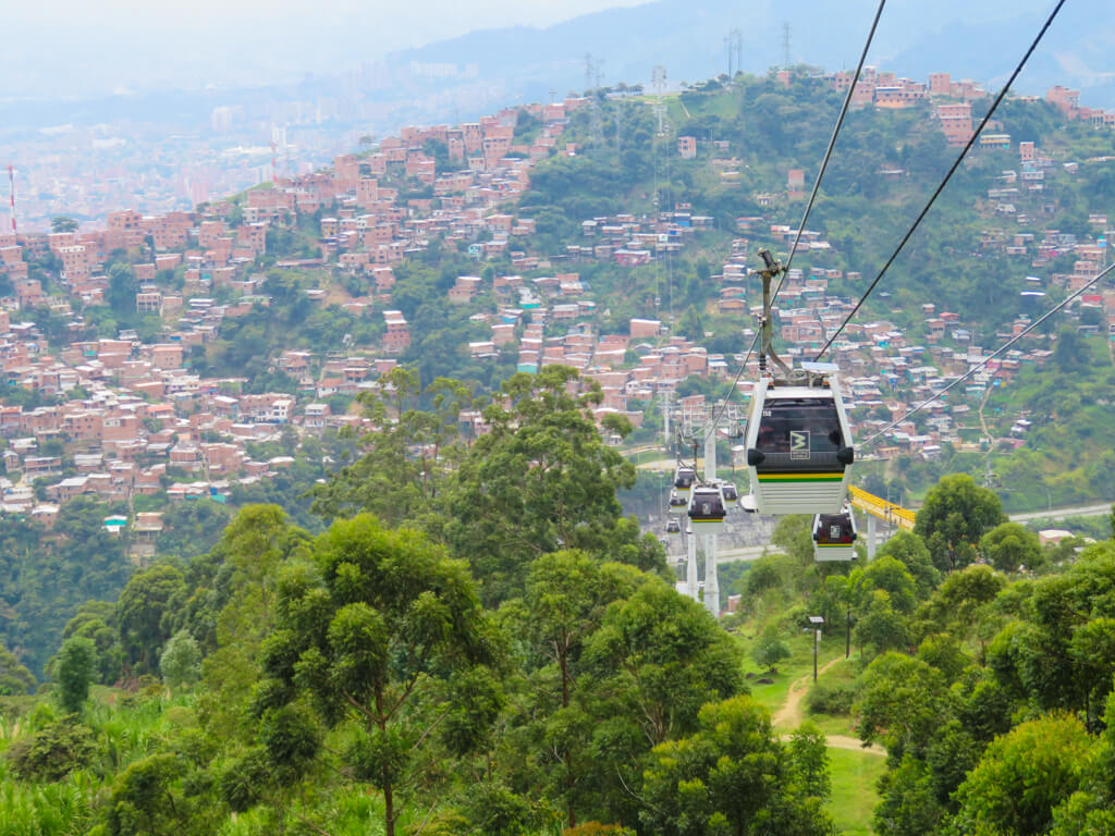 The Medellin Metrocable connects the neighbourhoods in the mountains to the city below.
