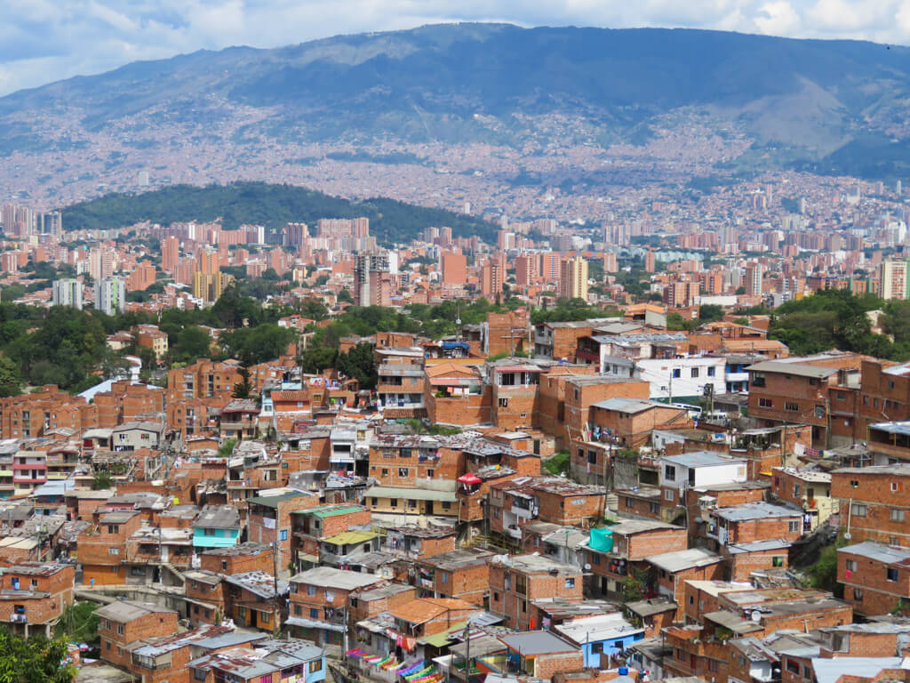 View of the city of Medellin, Colombia from a metro station