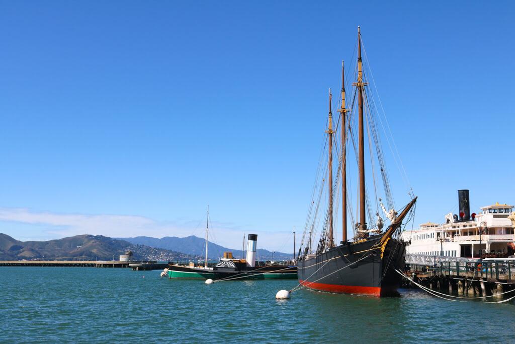 A large ship at Fisherman's Wharf in San Francisco