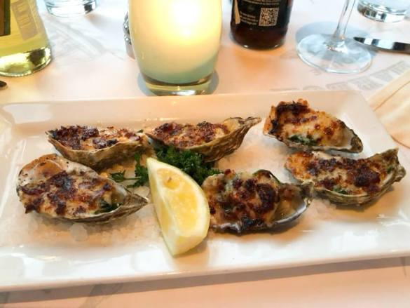 Baked oysters at Fog Harbor Fish House, Fisherman's Wharf, San Francisco