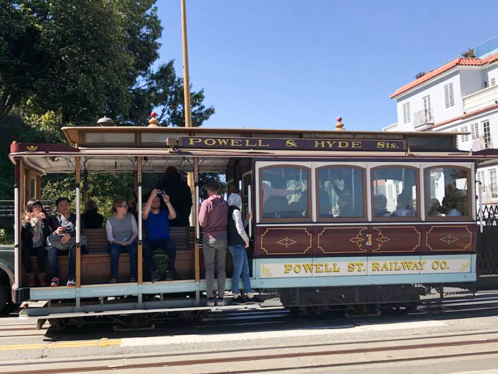Tourists on the Powell-Hyde cable car in San Francisco