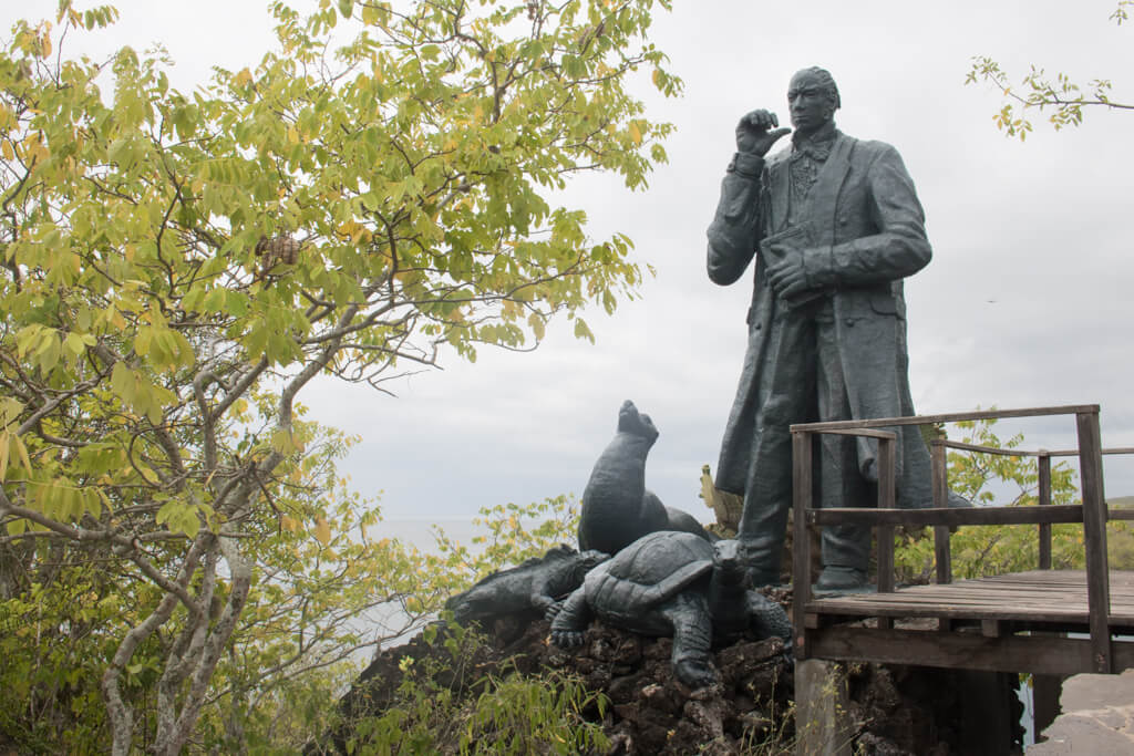 A statue of the naturalist Charles Darwin near Frigatebird Hill on San Cristobal Island in the Galapagos