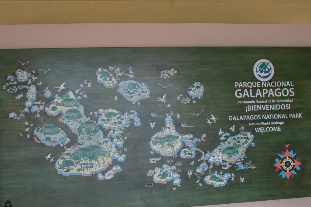 An illustrated map of the Galapagos Islands at the Interpretation Center on San Cristobal Island