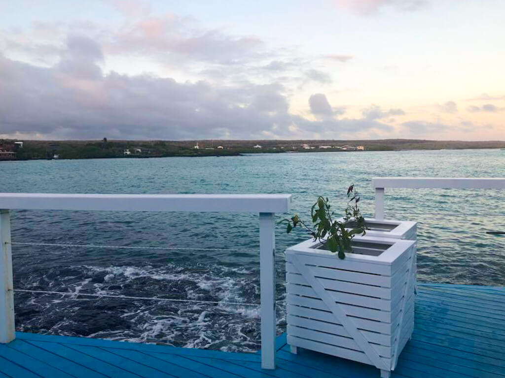 Oceanfront views from the dining area at Bahia Mar Restaurant in Puerto Ayora, Galapagos