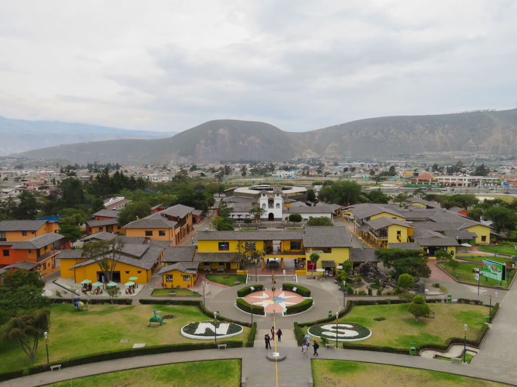 View of La Mitad del Mundo Tourist Complex from the top of the monument