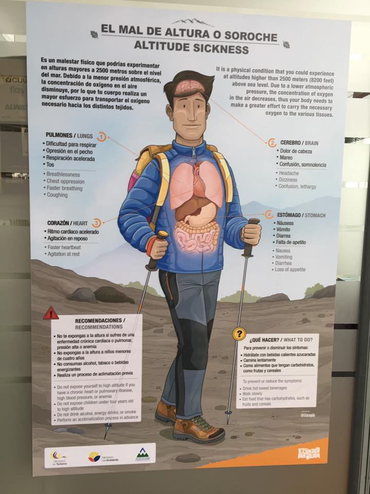 Information board about altitude sickness at the Teleferico in Quito, Ecuador