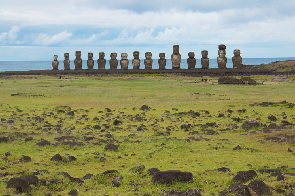 Ahu Tongariki is Easter Island's most impressive ahu platform. with 15 moai