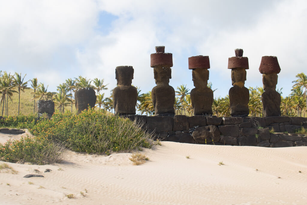 On Anakena beach stand four moai with topknots