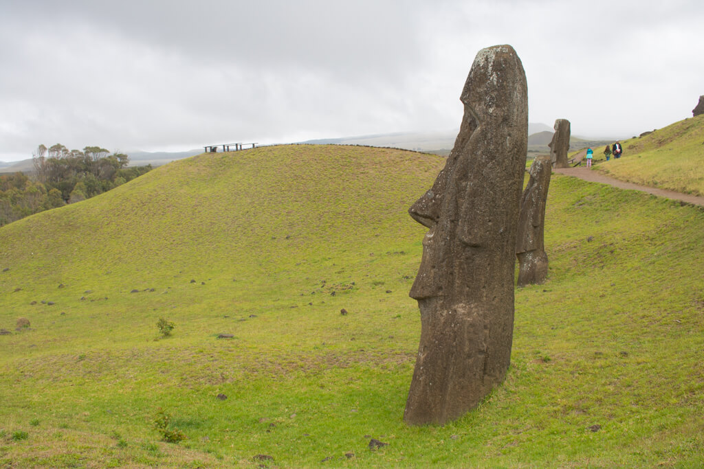 A moai with a pointy nose at Rano Raraku on Easter Island