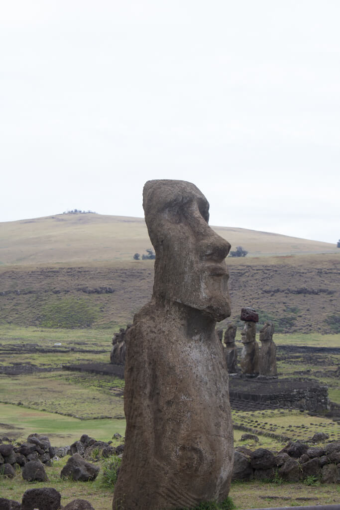 "The ""Traveling Moai"" greets visitors at the entrance to Ahu Tongariki on Easter Island"