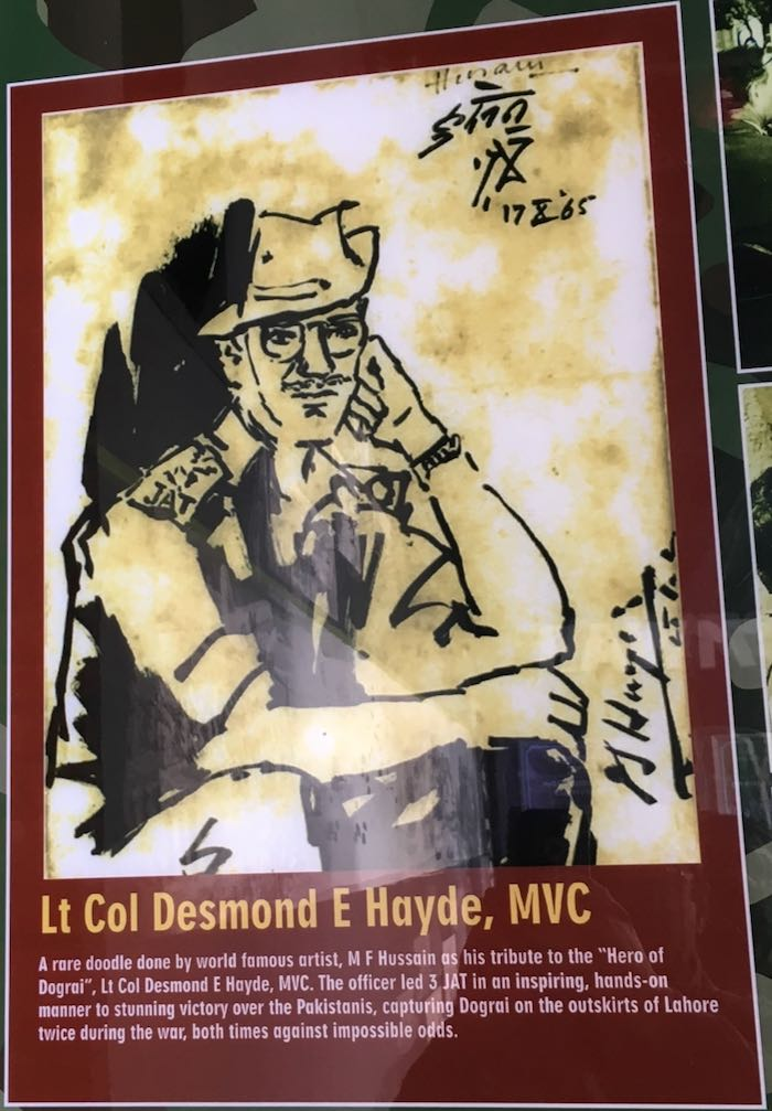 A doodle of Lt Col Desmond Hayde by MF Hussain