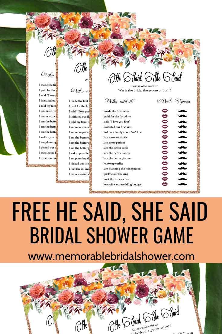 photo regarding He Said She Said Bridal Shower Game Free Printable named 15 Pleasurable and Special Bridal Shower Video games - Unforgettable Bridal Shower