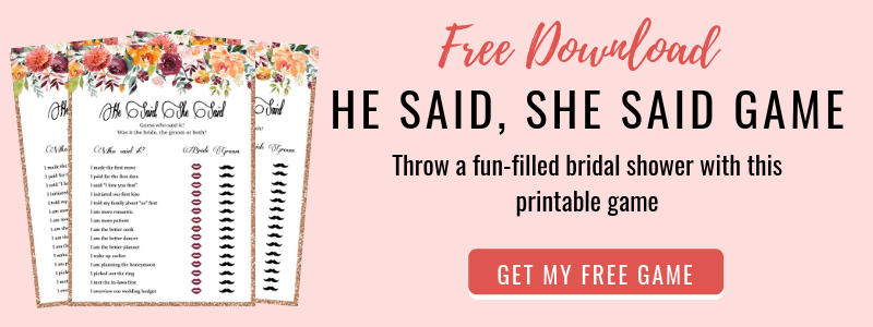 picture about He Said She Said Bridal Shower Game Free Printable identified as 15 Enjoyable and Distinctive Bridal Shower Game titles - Unforgettable Bridal Shower