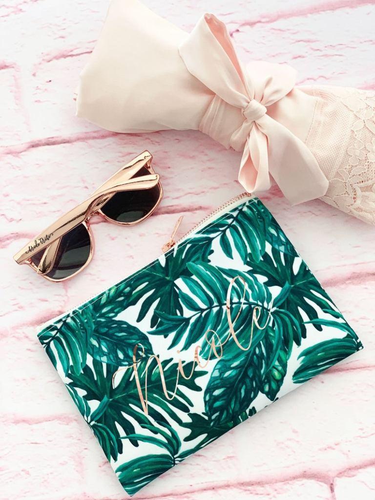 Bachelorette party favors palm leaf makeup bag