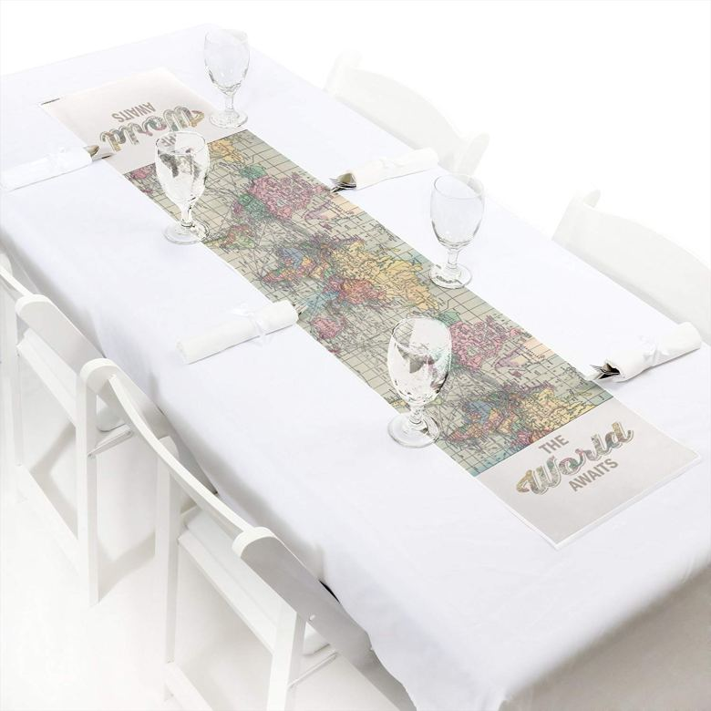 The world awaits travel themed table runner