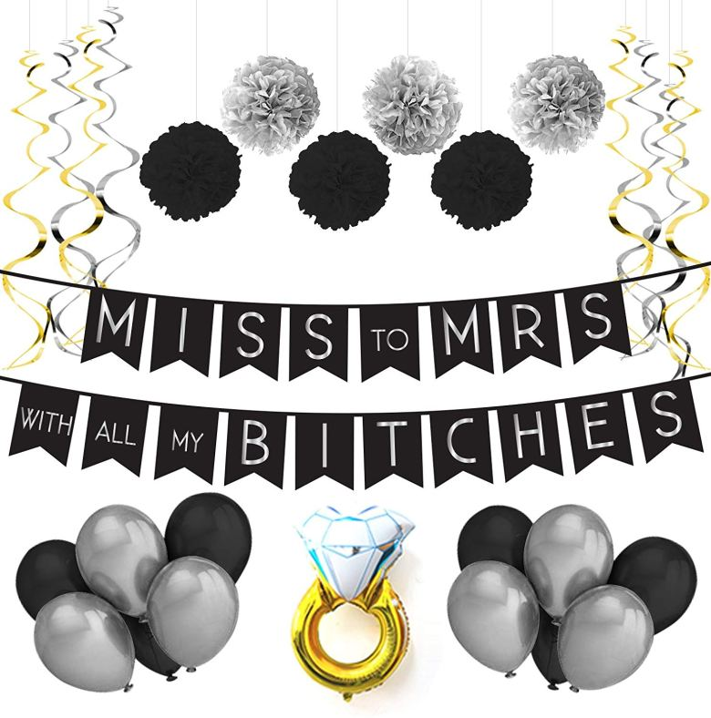 White and black bachelorette party theme decorations