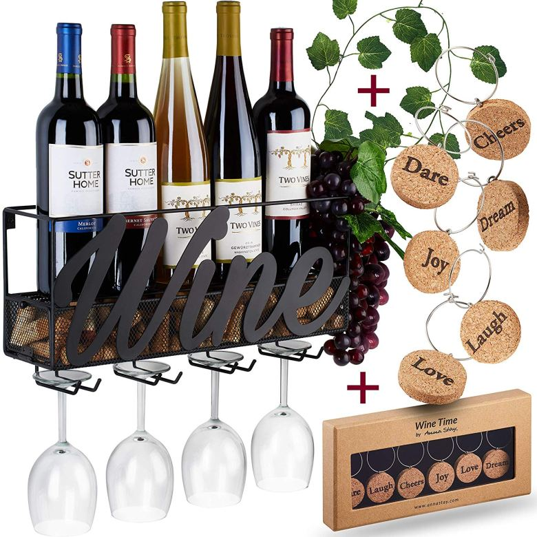Wine rack with glass cups slots