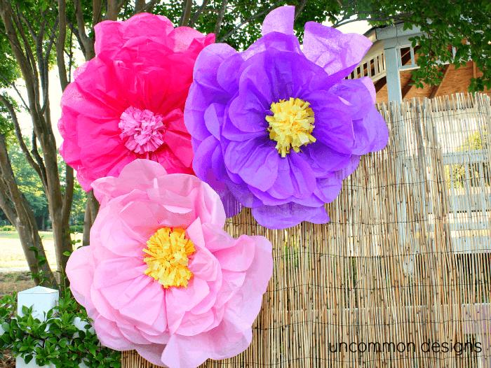 Giant luau tissue flowers
