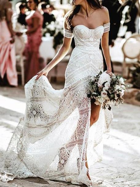 Lace mermaid boho wedding dresses