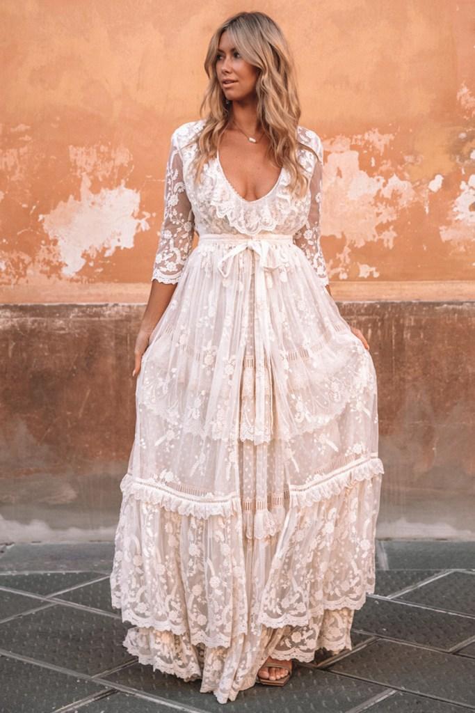 Chloe duster bohemian bridal gown