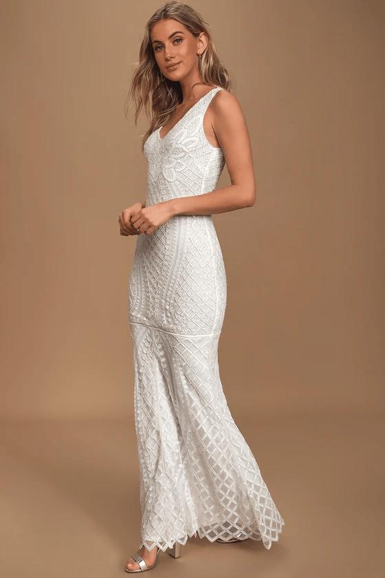 Beaded mermaid bridal dress