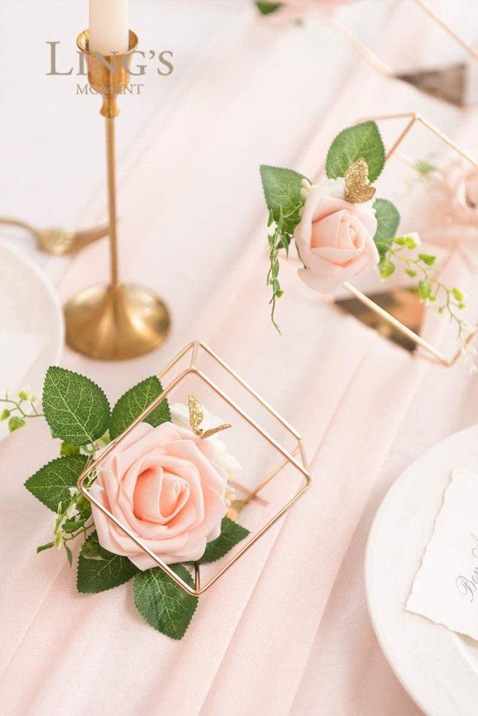 3 Gold Geometric Blush Rose Flower Elegant Wedding Centerpieces